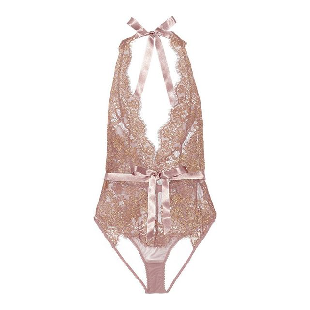 L'Agent by Agent Provocateur Iana Metallic Lace And Tulle Bodysuit