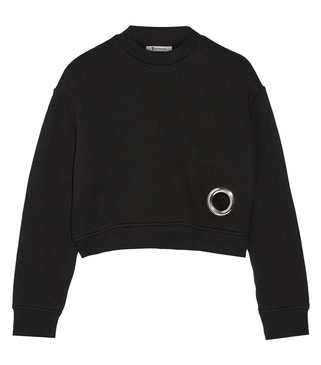 T by Alexander Wang Eyelet-Embellished Cotton-Blend Fleece Sweatshirt