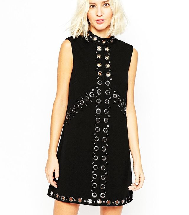 ASOS 60s High Neck Shift Dress With Eyelet Detail