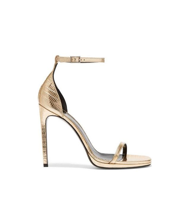 Saint Laurent Jane Metallic Lizard-Effect Leather Sandals