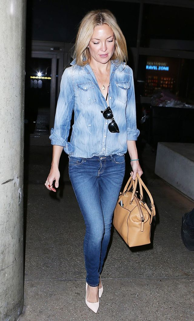 On Kate Hudson: Dsquared2shirt; Michael Korsbag.