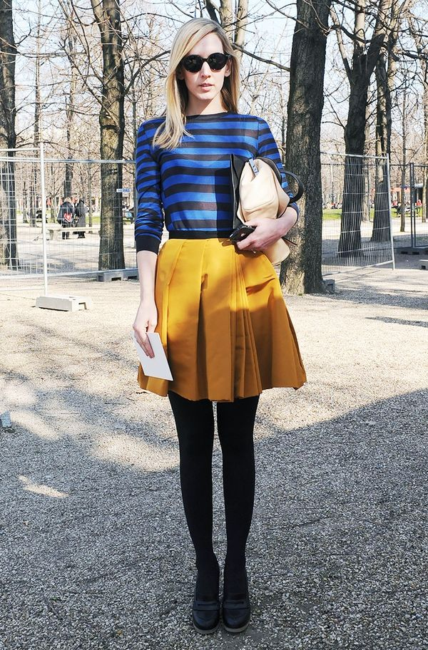 WHO: Jane Keltner de ValleWe love how she tied in her stripes with a pair of opaque tights!