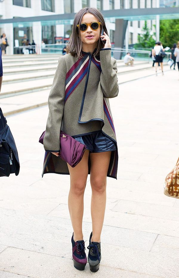 WHO: Miroslava DumaA high-low coat with leather shorts—well played, Duma!