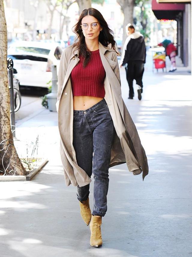 On Emily Ratajkowski:Garett Leight Wilson Glasses (£215) in Tokyo Tortoise/Amber Honey; Reformation Kensington Jacket (£165) in Camel;Saint Laurent ankle boots.