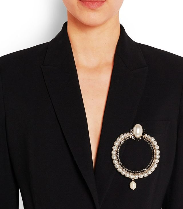 Givenchy Brooch in Gold-Tone Faux Pearl and Crystal