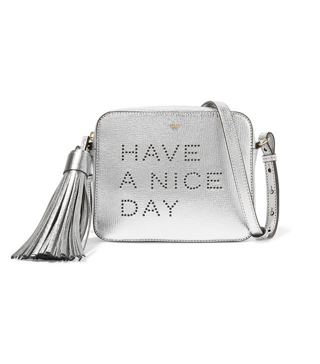 Anya Hindmarch Textured Metallic Leather Shoulder Bag
