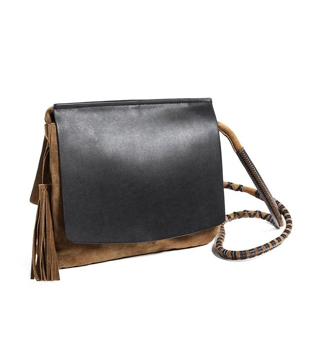 Zara Contrast Leather Cross-Body Bag