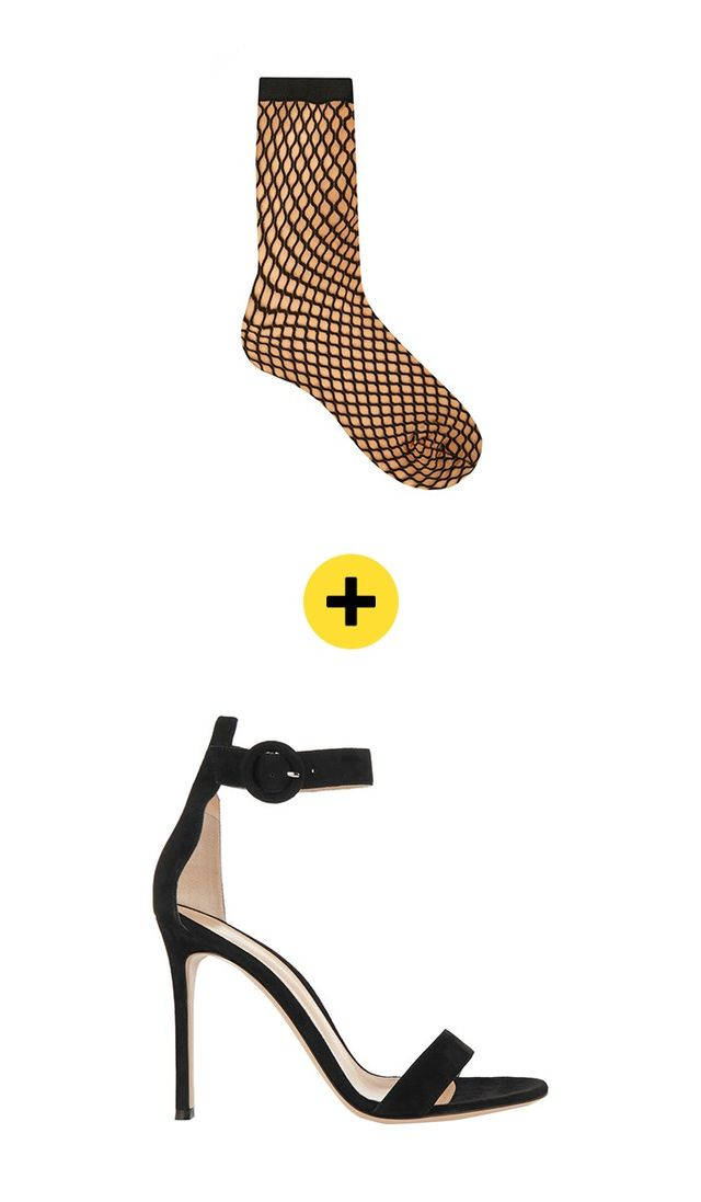 Wolford Sibylle Fishnet Socks ($26) +Gianvito Rossi Suede Sandals ($790) in Black