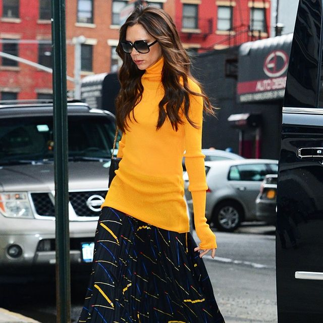 Victoria Beckham Persuades Us That an Orange Roll Neck Is a Good Idea