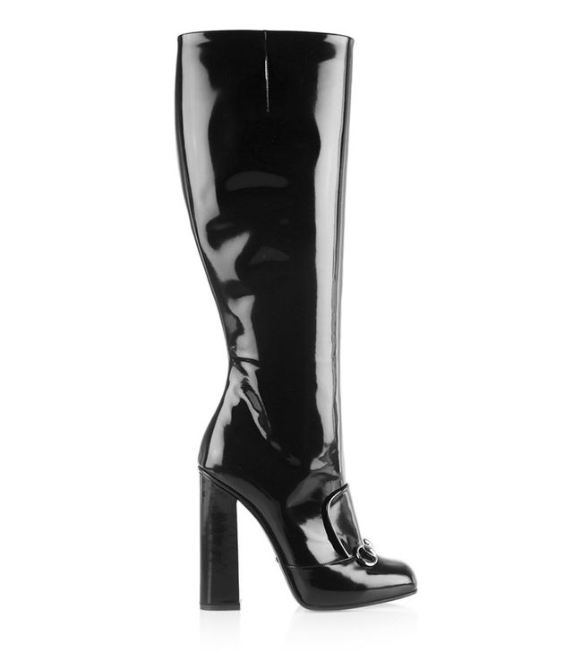 Gucci Horsebit-Detailed Patent Leather Knee Boots