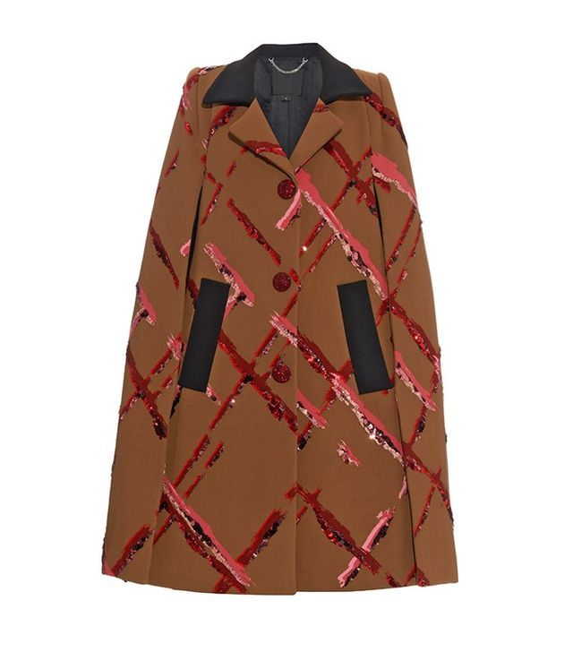 Marc Jacobs Painted-Checks Sequin-Embroidered Cape