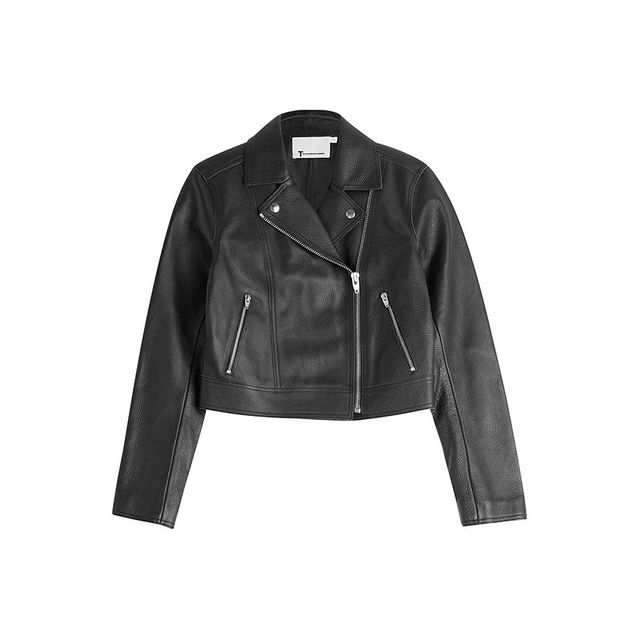 T By Alexander Wang Cropped Leather Biker Jacket