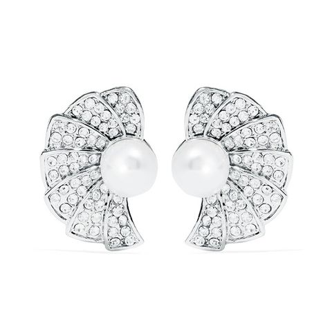 Silver-Tone, Crystal and Faux Pearl Clip Earrings