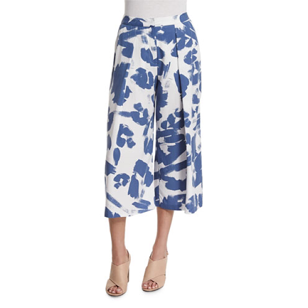 Kendall + Kylie Pleated-Front Printed Culottes in Tempest