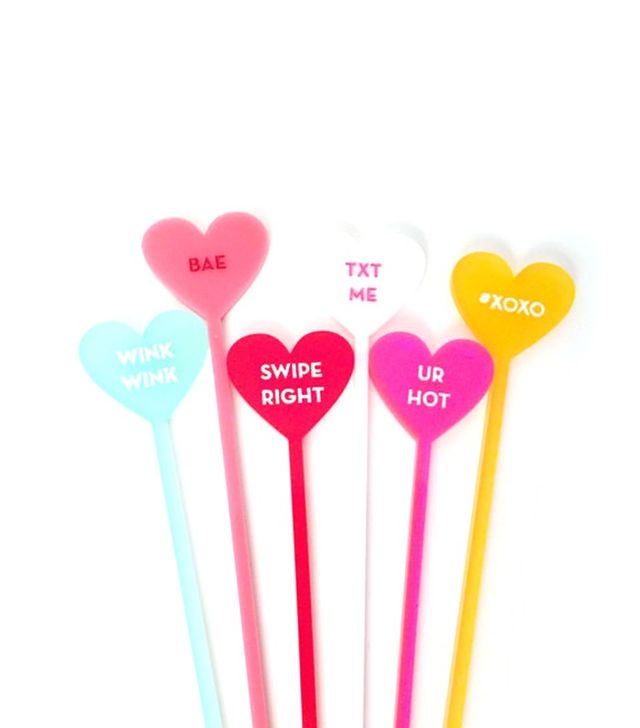 California Lustre Modern Candy Heart Drink Stirrers