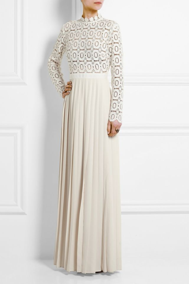 Self-Portrait Guipure Lace and Crepe Maxi Dress