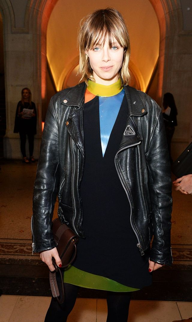 On Edie Campbell: Christopher Kane dress and Safety Bucket Shoulder Bag(£850), available in Black Leather.