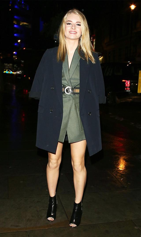 On Lottie Moss: Versacedress, belt and shoes.
