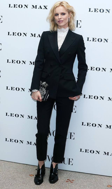 On Eva Herzigova:Dolce &Gabbana suit;Alexander McQueenclutch.