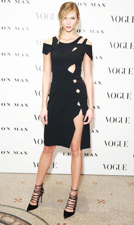 On Karlie Kloss:Christopher Kane dress; Aquazzura Amazon Black Suede Pumps(£525).