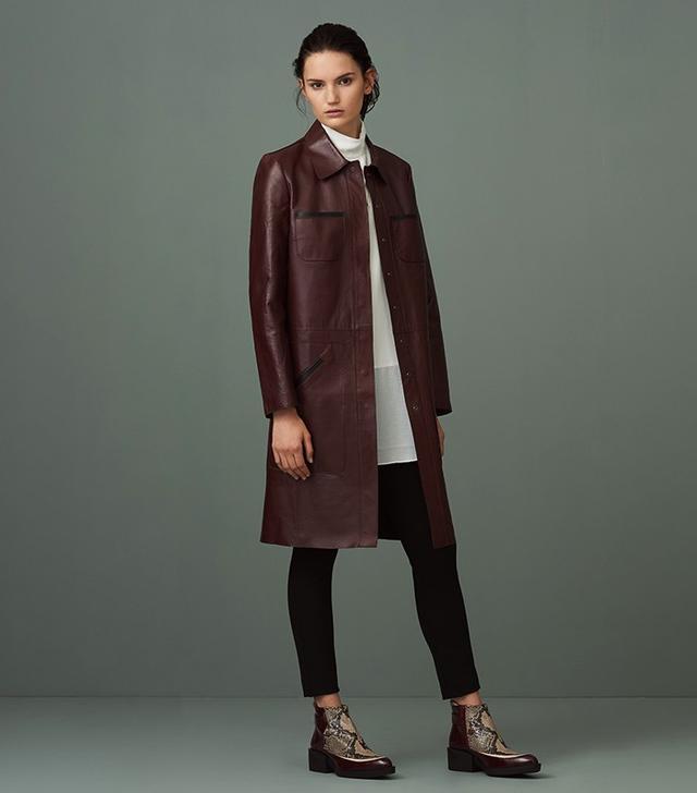 Finery Fanshaw Leather Bonded Coat