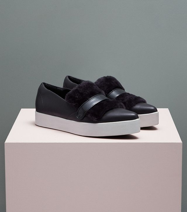 Finery Orson Leather Faux Fur Luxury Trainers