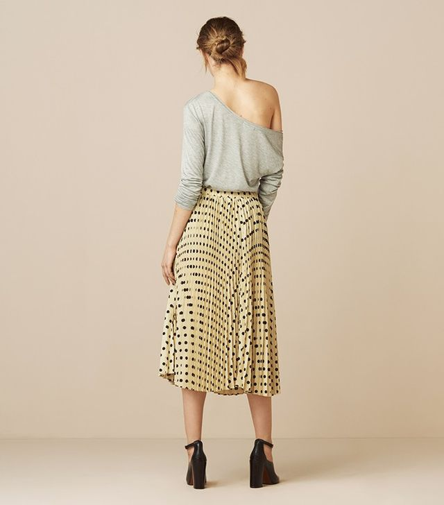 Finery Goswell Spot Pleated Skirt