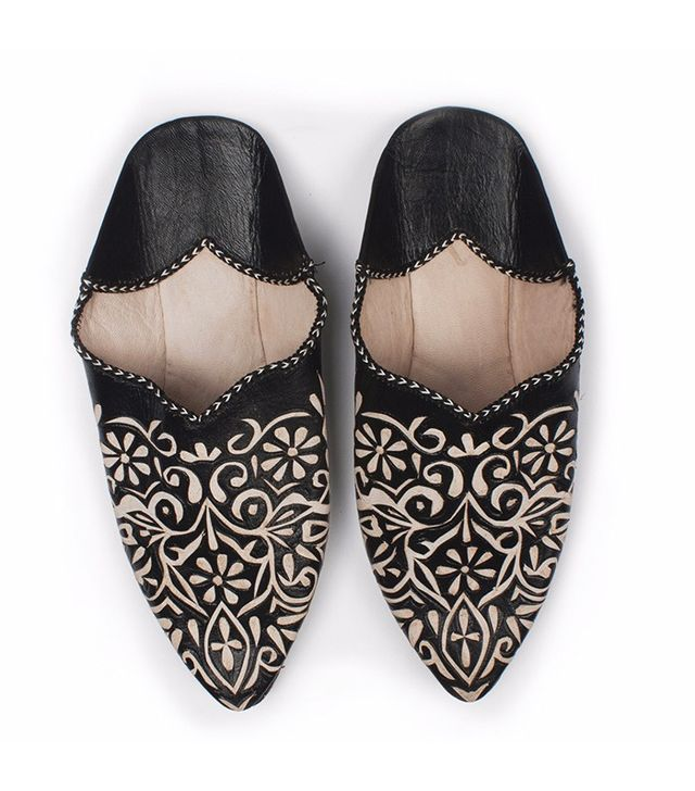 Bohemia Decorative Babouche Slippers in Black