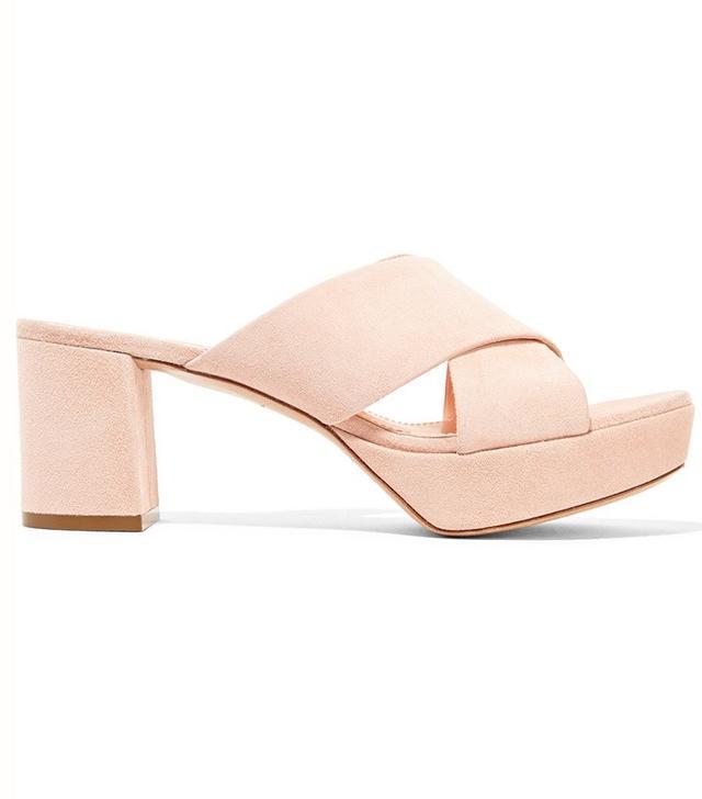 Mansur Gavriel Suede Platform Sandals in Pastel-Pink