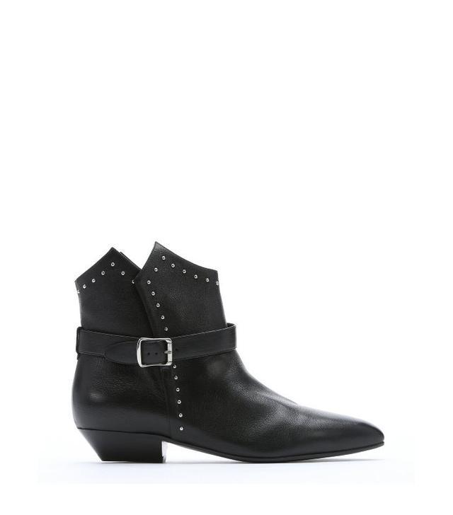 Saint Laurent Black Leather Buckle Detail Ankle Booties
