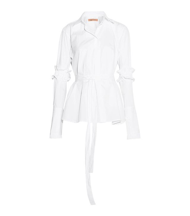Maggie Marilyn Hold It Together Belted Cotton-Poplin Shirt