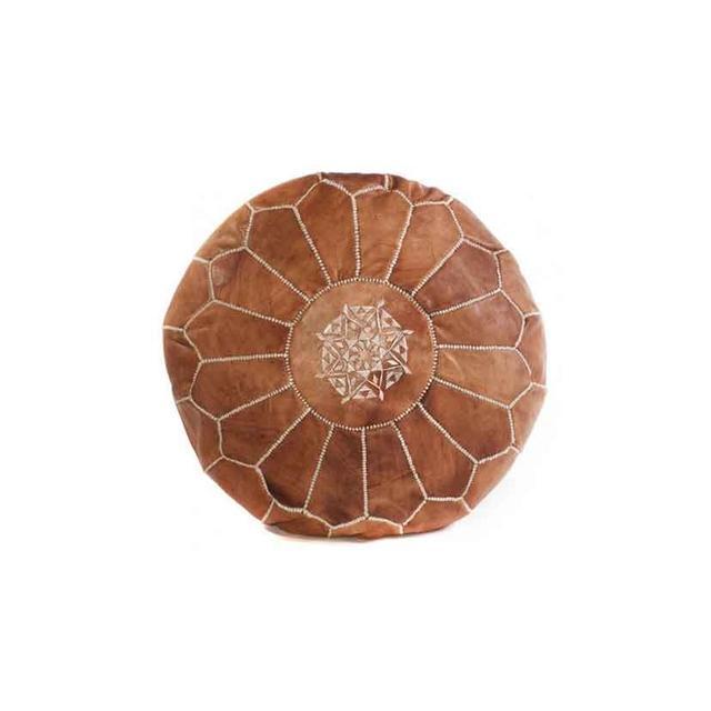 Cush & Co Tan Brown Moroccan Pouf Leather