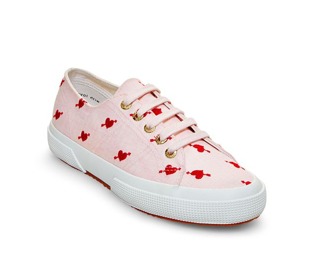 Superga x Jennifer Meyer Linen Sneakers in Pink Red