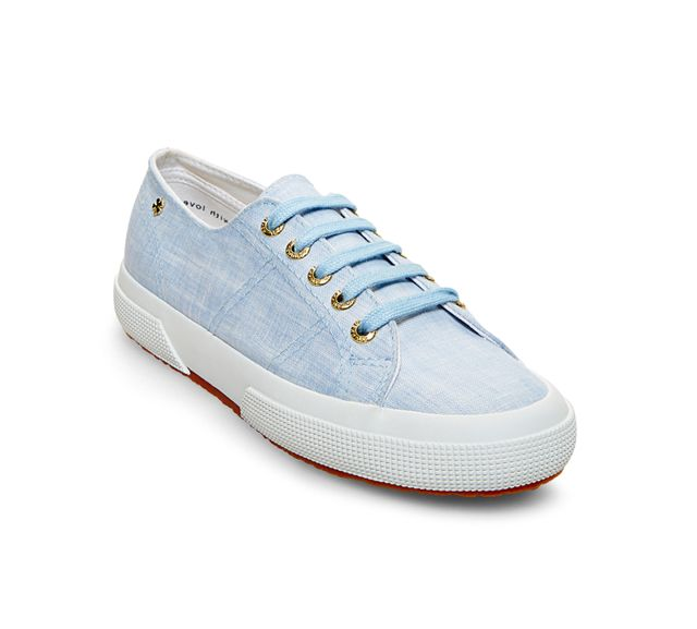 Superga x Jennifer Meyer Linen Sneakers in Sky Blue