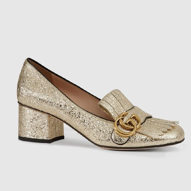 Gucci Metallic Mid Heel Pumps