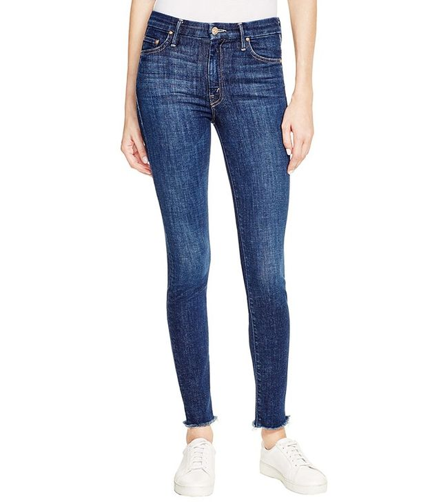 Mother High Waist Looker Ankle Fray Jeans in Clean Sweep