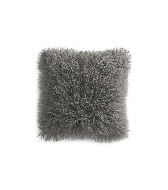 Crate and Barrel Pelliccia Mongolian Lamb Fur Pillow