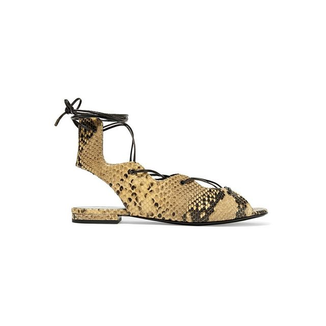 Saint Laurent Lace-Up Snake Sandals