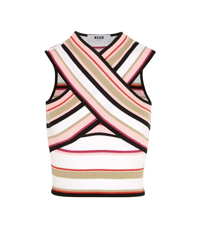 MSGM Cropped Striped Cotton-Blend Top