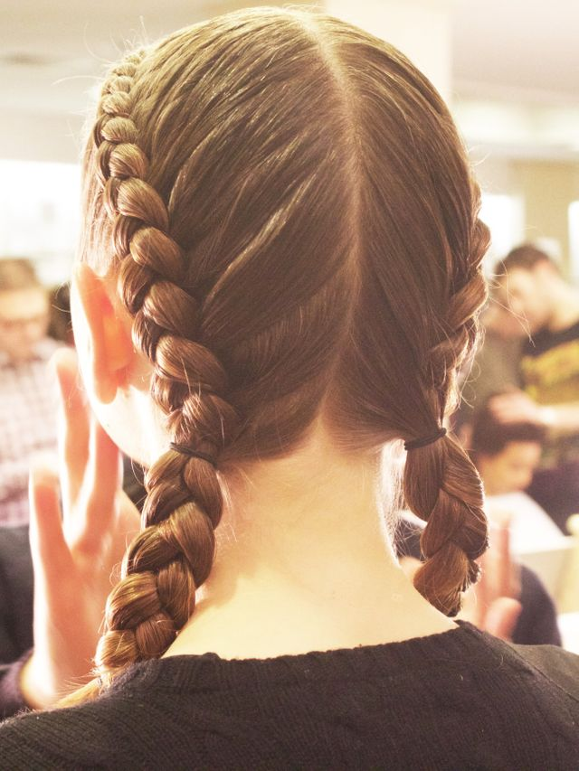 "Want to try out this look yourself? Here are Turner's tips for achieving the bad gal braids, created entirely with Bumble and Bumble products: ""Create a strong center part and prep..."