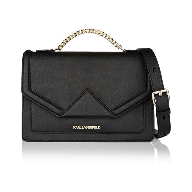 Karl Lagerfeld Klassik Textured-Leather Shoulder Bag