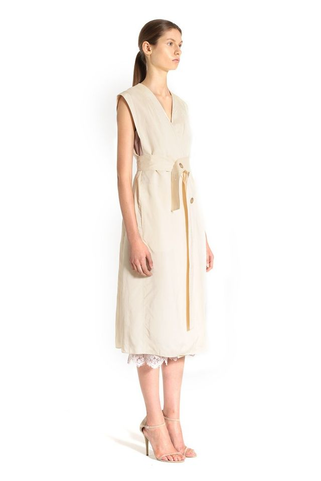Tome Peach Washed Viscose Sleeveless Trench