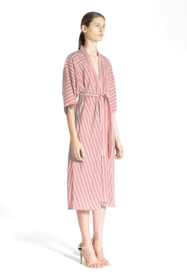 Tome Rose Silk Stripe V-Neck Dress