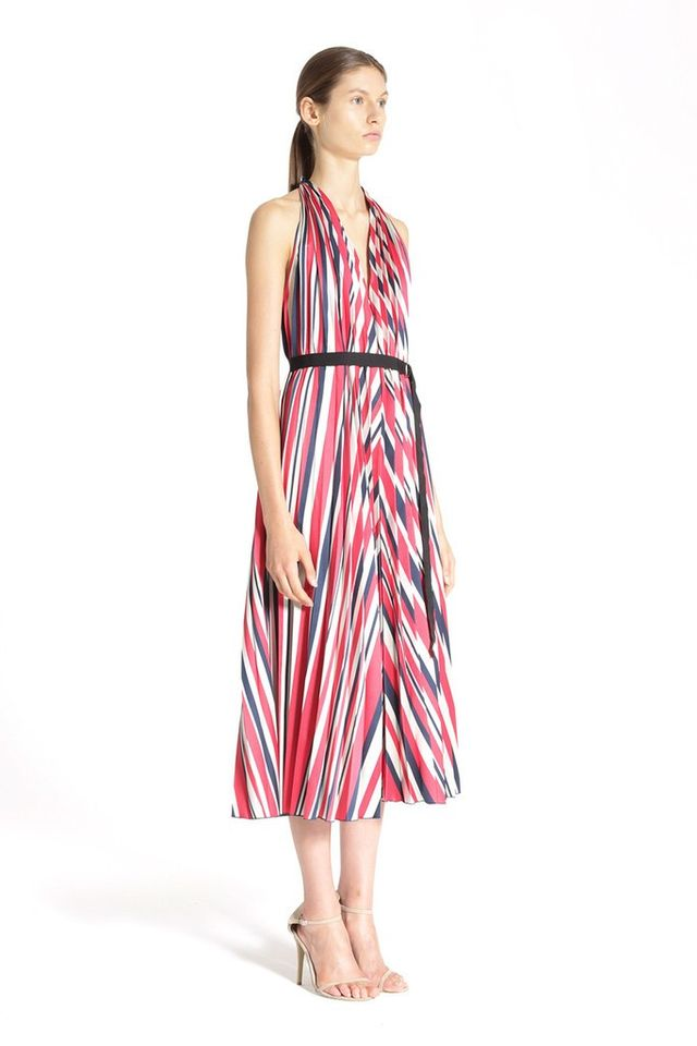 Tome Satin Stripe Pleated Halter Dress