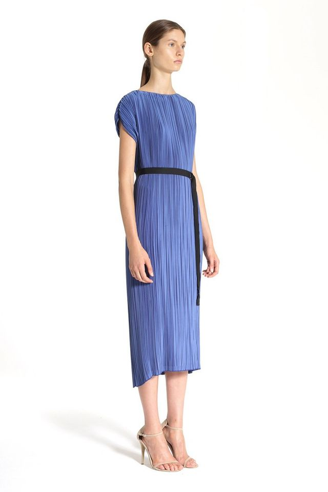Tome Bright Blue Satin Pleated Wrap Dress