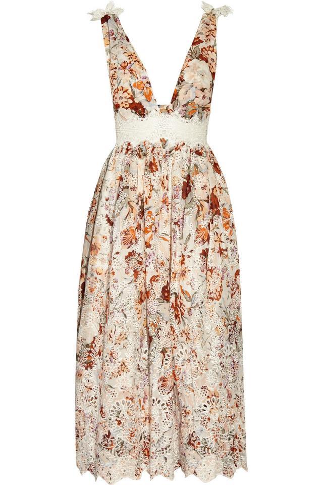 Zimmermann Alchemy Crochet-Paneled Broderie Anglaise Cotton Dress