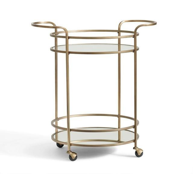 Pottery Barn Tristan Metal Glass Bar Cart