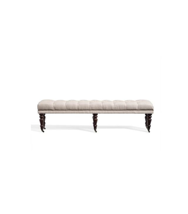 Pottery Barn Raleigh Tufted Bench With Turned Legs