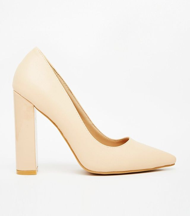Lost Ink Carlita Nude Shine Block Heel Court Shoes