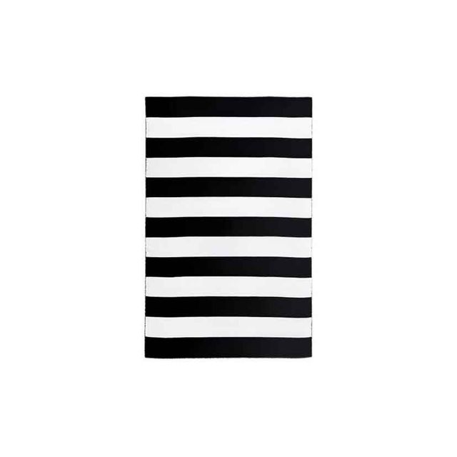 Miss Amara Ios Black & White Stripe Indoor Outdoor Rug